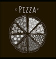 pizza bw blackfon vector image
