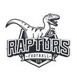Raptor sport logo mascot design Vintage college vector image