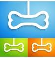 Set of applique bone icon for happy animal vector image