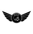 wings emblem with skull and helmet vector image
