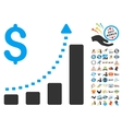 Business Bar Chart Positive Trend Icon With 2017 vector image