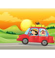 A girl and a boy riding in a red car vector image vector image