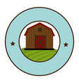 circular frame with barn of two floors vector image