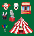 circus set clown box office hat with a rabbit vector image