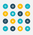 set of 16 editable toolkit icons includes symbols vector image