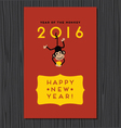 happy new year design with cute monkey vector image