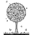 Abstract tree with butterflies vector image