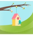 birds and birdhouse spring vector image