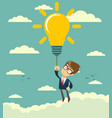 businessman flying holding idea bulbs in sky vector image