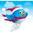 Flying blue bird with envelope vector image