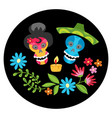 poster with colorful skulls with candle and flowe vector image