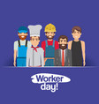 dark blue card with group of male workers on vector image