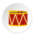 red drum and drumsticks icon circle vector image
