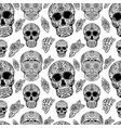 seamless pattern with sugar skulls isolated on vector image