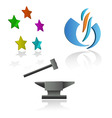 set of emblems and symbols with anvil and hammer vector image vector image