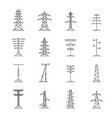 electrical tower voltage icons set outline style vector image