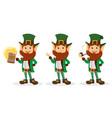 set of smiling cartoon character leprechaun vector image