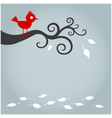 autumn bird with fallen leaf vector image