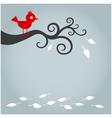 autumn bird with fallen leaf vector image vector image