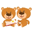 Two retro style teddy bear characters sitting and vector image