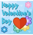 Valentines day card with flowers and hearts vector image