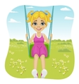 Adorable girl having fun on a swing in summer park vector image