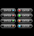 black enter button with colored arrows and circles vector image