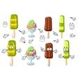 Cartoon ice cream bar sundae and popsicles vector image