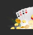 casino poker cards background with coins and copy vector image