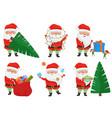 christmas santa claus poses set vector image