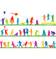 Colored children silhouettes playing outdoor vector image