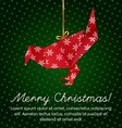 Colorful Christmas Greeting with an origami bird vector image
