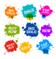 Colorful Grunge Sale Splash Blots Icons vector image