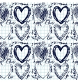 Hand-drawn seamless heart pattern vector image