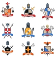 Medieval knights emblems flat icons set vector image