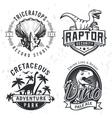 Set of Dino Logos Raptor t-shirt vector image