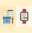 time planning with app on smart watch and paper vector image