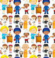 Seamless background with people and jobs vector image vector image