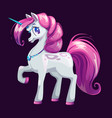 cute cartoon unicorn with pink hair vector image