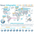 Elements for the news infographic with map vector image vector image
