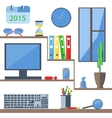 Set of office objects folder monitor watch vector image