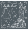 Bridal shower Dressaccessories setOutline Decor vector image