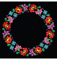 Kalocsai embroidery in circle - Hungarian floral vector image