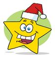 Happy Christmas Star Cartoon Character Smiling vector image