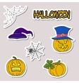 Doodle cartoon patch badges or stickers Halloween vector image
