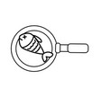 line delicious fried fish inside skillet pan vector image