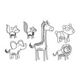 set animal caricature silhouette on white vector image