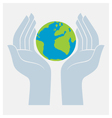Earth protected by hands vector image