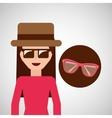 toursit female hat sunglasses elegant vector image
