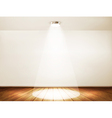 Wall with a spotlight and wooden floor Showroom vector image
